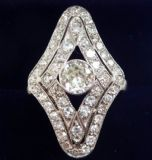 Stunning platinum art deco 1.63ct Diamond cluster marquise vintage antique ring